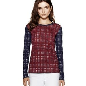 TORY BURCH | Plaid Print Betty Tee Top Size S